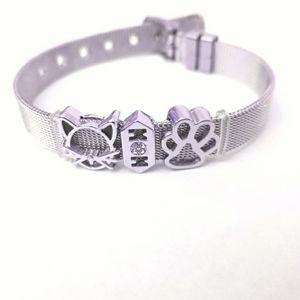 Cat Charm Bracelet Surgical Steel Mesh